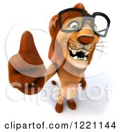 Clipart Of A 3d Lion Wearing Glasses And Holding A Thumb Up Royalty Free Illustration