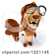 Clipart Of A 3d Lion Wearing Glasses And Holding A Thumb Down Royalty Free Illustration
