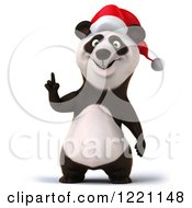Clipart Of A 3d Christmas Panda Pointing Up Royalty Free Illustration