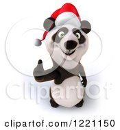 Clipart Of A 3d Christmas Panda Holding A Thumb Up Royalty Free Illustration