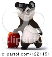 Clipart Of A 3d Traveling Panda Wearing Sunglasses And Walking With A Suitcase Royalty Free Illustration