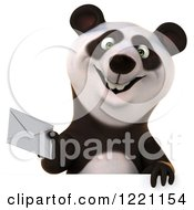 3d Panda Holding An Envelope Over A Sign
