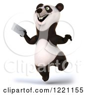3d Panda Holding An Envelope And Jumping