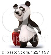 Clipart Of A 3d Traveling Panda Walking With A Suitcase Royalty Free Illustration