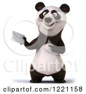 3d Panda Holding And Pointing To An Envelope