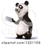 3d Panda Holding Out An Envelope