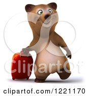 Clipart Of A 3d Traveling Brown Bear Mascot With Luggage Royalty Free Illustration