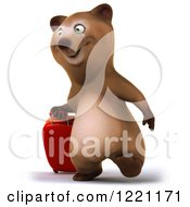 Clipart Of A 3d Traveling Brown Bear Mascot With Luggage 2 Royalty Free Illustration