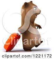Clipart Of A 3d Traveling Brown Bear Mascot With Luggage 3 Royalty Free Illustration