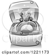 Clipart Of A Grayscale Sparkly Diamond Ring In A Box Royalty Free Vector Illustration