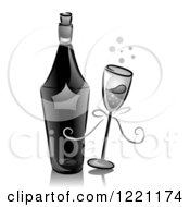 Clipart Of A Grayscale Bottle And Glass Of Champagne Royalty Free Vector Illustration