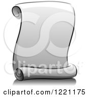 Clipart Of A Grayscale Blank Scroll Notice Royalty Free Vector Illustration