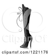 Clipart Of A Grascale Knee High Boot With Lacing Royalty Free Vector Illustration