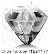 Clipart Of A Grayscale Sparly Diamond Royalty Free Vector Illustration
