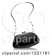 Clipart Of A Grayscale Purse Royalty Free Vector Illustration