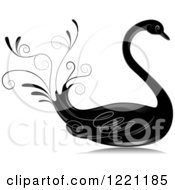 Clipart Of A Grayscale Swan With Flourishes Royalty Free Vector Illustration by BNP Design Studio