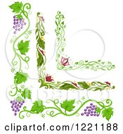 Clipart Of Grape Vine And Floral Corner Borders Royalty Free Vector Illustration