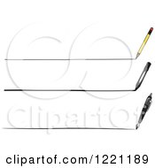 Clipart Of A Pencil Marker And Fountain Pen Drawing Lines Royalty Free Vector Illustration