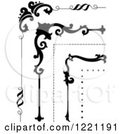 Clipart Of Ornate Black Corner Borders Royalty Free Vector Illustration