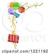 Clipart Of A Corner Border Of Party Balloons Gifts And A Sign Royalty Free Vector Illustration
