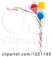 Clipart Of A Corner Border Of Party Balloons And Confetti Royalty Free Vector Illustration
