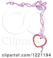 Clipart Of A Corner Wedding Border Of Ribbons Bells And A Heart Tag Royalty Free Vector Illustration