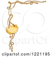 Clipart Of A Corner Border Of Ropes And A Wooden Sign Royalty Free Vector Illustration