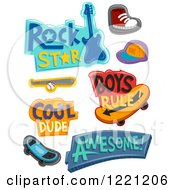 Clipart Of Boys Designs And Items Royalty Free Vector Illustration