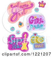 Clipart Of Girls Designs And Items Royalty Free Vector Illustration by BNP Design Studio