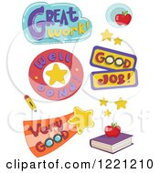 Clipart Of Educational Phrases Royalty Free Vector Illustration
