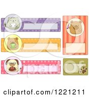 Clipart Of Cute Animal Book Or School Labels Royalty Free Vector Illustration