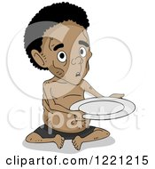 Clipart Of A Malnourished African Boy Holding An Empty Plate Royalty Free Vector Illustration