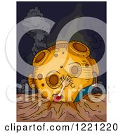 Clipart Of A Meteorite On Top Of A Man Royalty Free Vector Illustration