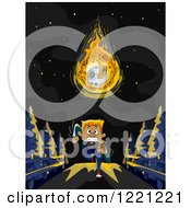 Clipart Of A Man Running Away From A Falling Meteorite Royalty Free Vector Illustration