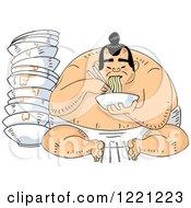 Hungry Sumo Wrestler Eating Ramen Noodles