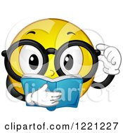 Clipart Of A Yellow Smiley Wearing Glasses And Reading A Book Royalty Free Vector Illustration