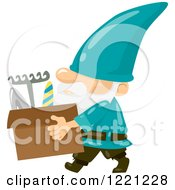 Clipart Of A Garden Gnome Carrying A Box Of Tools Royalty Free Vector Illustration by BNP Design Studio
