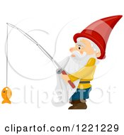 Clipart Of A Gnome With A Fish On A Hook Royalty Free Vector Illustration by BNP Design Studio