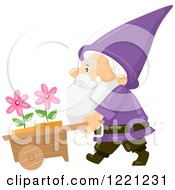 Clipart Of A Garden Gnome Pushing A Wheel Barrow With Flowers Royalty Free Vector Illustration by BNP Design Studio