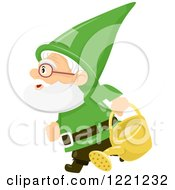 Clipart Of A Green Garden Gnome Carrying A Watering Can Royalty Free Vector Illustration by BNP Design Studio
