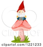 Clipart Of A Garden Gnome Sitting On A Red Mushroom Royalty Free Vector Illustration by BNP Design Studio