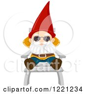 Clipart Of A Garden Gnome Relaxing On A Chair Royalty Free Vector Illustration