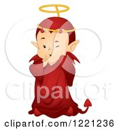 Clipart Of A Cute Little Devil Wearing A Halo Royalty Free Vector Illustration