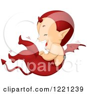 Clipart Of A Cute Little Devil Holding His Tummy And Laughing On The Floor Royalty Free Vector Illustration