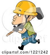 Clipart Of A Short Construction Worker Walking With A Sledgehammer Royalty Free Vector Illustration by BNP Design Studio