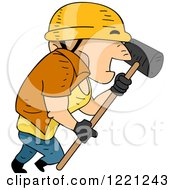 Clipart Of A Short Construction Worker Marching With A Sledgehammer Royalty Free Vector Illustration by BNP Design Studio