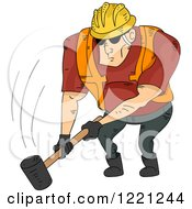 Strong Construction Worker Swinging A Sledgehammer Down