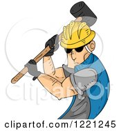 Clipart Of A Strong Construction Worker Swinging A Sledgehammer Royalty Free Vector Illustration