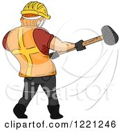 Rear View Of A Strong Construction Worker Swinging A Sledgehammer