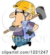 Clipart Of A Short Construction Worker Running With A Sledgehammer Royalty Free Vector Illustration by BNP Design Studio